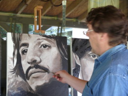 Peter Engels working on the Ringo Starr portrait painting