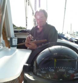 Aboard his yacht Peter Engels is working on the Dalai Lama portrait painting