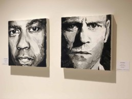 Denzel Washington and Jason Staham-portrait painting by Peter Engels