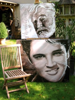 Two portrait paintings by Peter Engels, Ernest hemingway and Elvis Presley
