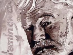 Ernest Hemingway portrait painting by Peter Engels