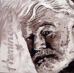 Ernest Hemingway portrait painting by Peter Engels