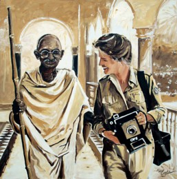 Gandhi portrait painting by Peter Engels