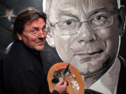 Peter Engels working on the Herman Van Rompuy portrait painting