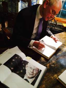 Herman Van Rompuy signs his book for Peter Engels