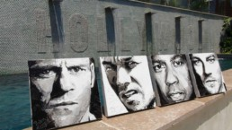 Hollywood actors portrait painting by Peter Engels, Jason Statham, Leonardo DiCaprio, Denzel Washington, Marc Wahlberg