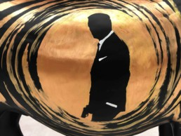 Silhouette of 007-actor Daniel Craig on the James Bond donkey by Peter Engels. Donkey Parade art auction for charity.