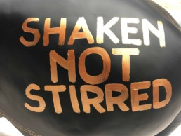 Shaken Not Stirred. Black and gold. James Bond donkey by Peter Engels
