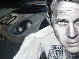 Steve McQueen-LeMans-Portrait painting by Peter Engels