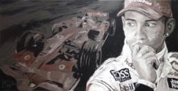 Lewis Hamilton portrait painting by Peter Engels