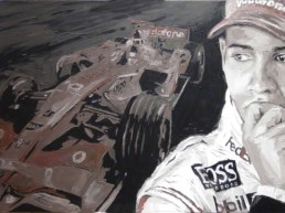 Lewis Hamilton portrait painting by Peter Engels