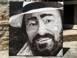 Luciano Pavarotti portrait painting by Peter Engels on the terrace of the house in Tuscany