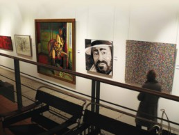 Exhibition of the Luciano Pavarotti portrait painting by Peter Engels at Campo and Campo art gallery in Antwerp, Belgium