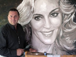 Peter Engels working on the Madonna portrait painting