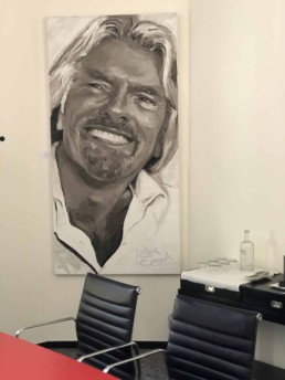 Richard Branson portrait painting by Peter Engels in Kasteel Tivoli