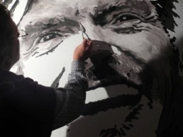 Peter Engels working on the Richard Branson portrait painting
