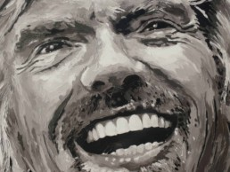 Detail of the Richard Branson portrait painting by Peter Engels