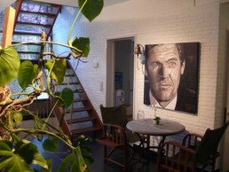 Roger Moore portrait painting by Peter Engels in the artist's home