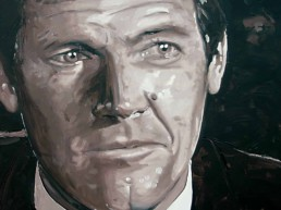 Roger Moore portrait painting by Peter Engels