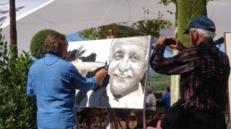The Roger Verge portrait painting by Peter Engels in progress is worth taking photos from