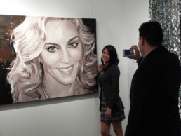 The Madonna portrait painting by Peter Engels at the exhibition on the magazine yacht Sea Fair, Miami