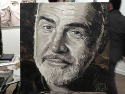 The finished Sean Connery portrait painting on board of the mega yacht Sea Fair during Art Basel Miami