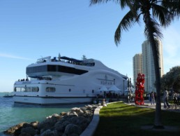 Mega yacht Sea Fair during Art Basel Miami where Peter Engels created the Sean Connery portrait painting during his exhibition on the ship