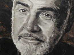Peter Engels created this Sean Connery portrait painting during Art Basel Miami on a mega yacht