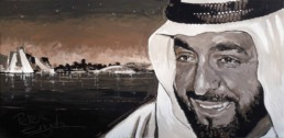 Sheikh Khalifa portrait painting by Peter Engels