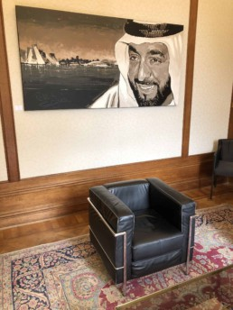 Exhibition of the Sheikh Khalifa portrait painting by Peter Engels