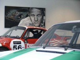 Porsche and Steve McQueen-LeMans-Portrait painting by Peter Engels