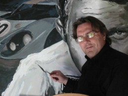 Peter Engels working on the Steve McQueen Le Mans-Portrait painting