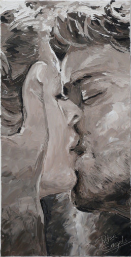 The Kiss portrait painting by Peter Engels - More passionate than Gustave Klimt