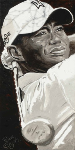 Tiger Woods portrait painting by artist Peter Engels