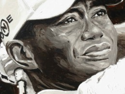 Detail of the Tiger Woods portrait painting by Peter Engels