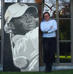 Tiger Woods portrait painting by Peter Engels