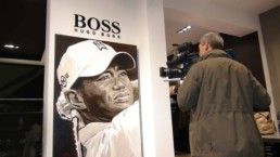 Tiger Woods portrait painting by artist Peter Engels in the Hugo Boss exhibition