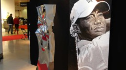 Tiger Woods portrait painting by artist Peter Engels in Monaco exhibition