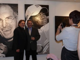 Tiger Woods portrait painting by artist Peter Engels, Art Basel Miami