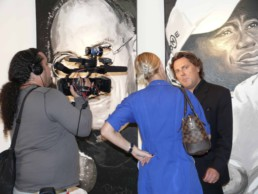 Press interview in front of the Tiger Woods portrait painting, Art Basel Miami