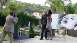 Exhibition at the Chateau La Cima, Villefranche sur Mer, France. Waterfall portrait painting by Peter Engels