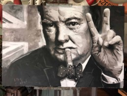 Winston Churchill portrait painting by artist Peter Engels
