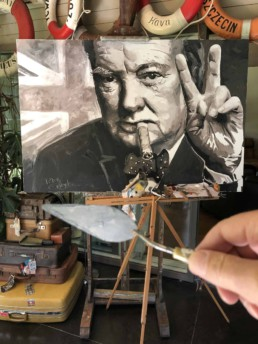 Winston Churchill portrait painting by artist Peter Engels in his atelier as a work in progress painted with the pallet knife