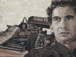 Ayrton Senna portrait painting by Peter Engels with his famous quote: 'Being second is to be the first of the once who lose'.