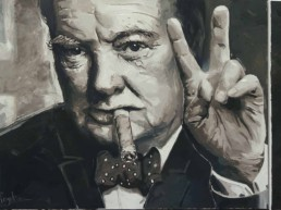 Winston Churchill portrait painting by Peter Engels with his famous quote 'Never surrender'