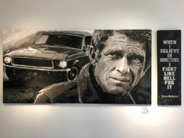 Steve McQueen portrait painting by Peter Engels