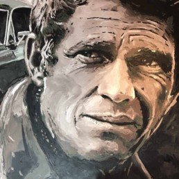 Steve McQueen portrait painting with his Bullit Mustang