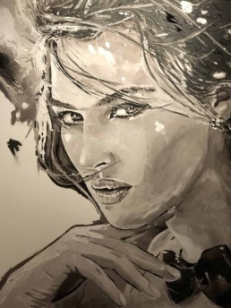 Monica Bellucci portrait painting by Peter Engels