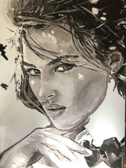 Work in progress - Monica Bellucci portrait painting by Peter Engels