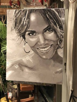 Halle Berry portrait painting by Peter Engels
